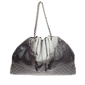Chanel Patent Leather Tote in Gray and Black