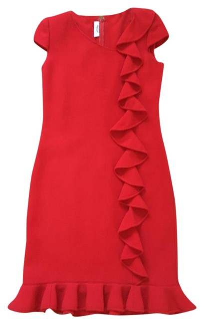 Item - Red Night Out Or Knee Length Cocktail Dress Size 6 (S)