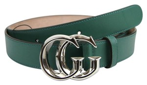 Gucci GUCCI Green Leather Belt with Silver GG Buckle 105/42 362734 3125
