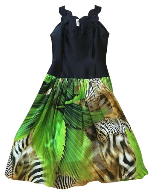 Item - Black and Green Silk Tea Length with Matching Shawl Mid-length Formal Dress Size 6 (S)