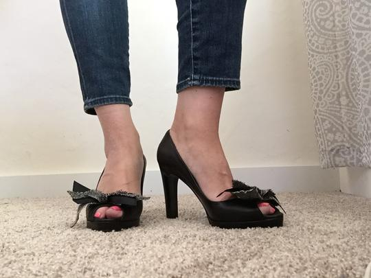 J.Crew Leather Peeptoe Bow Detail Chain Black Pumps