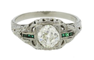 Other Antique Art Deco 18k Gold Diamond Emerald Engagement Ring EGL