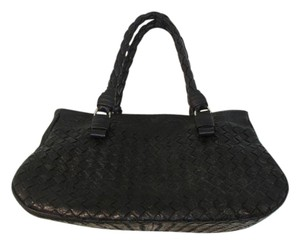 Bottega Veneta Leather Vintage Designer Suede Satchel in Black