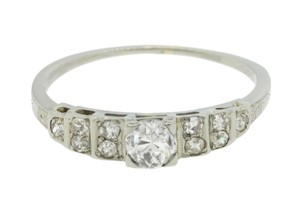 Other 1930s Antique Art Deco 20k White Gold Diamond Engagement Ring EGL
