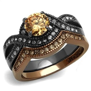 La Bella Rose Two Tone Stainless Steel Champagne CZ Wedding Ring Set - 08692