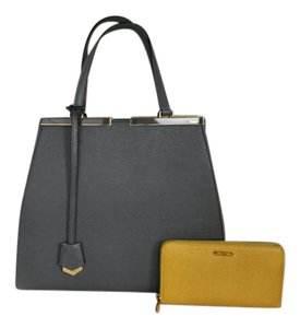 Fendi Leather Large 2jours Tote in Grey