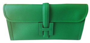 Hermès Green Jige Bamboo Green Clutch