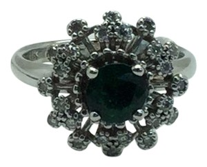 14 K White Gold Ring With Emerald and Diamonds Size 6