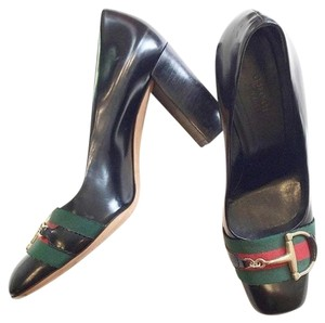 Gucci Horsebit Ribbon Leather Black Pumps
