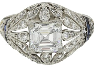 Gorgeous Antique Art Deco Platinum Asscher Diamond Engagement Ring