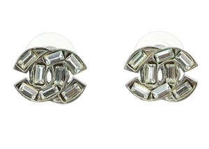 Chanel 01P Vintage Silver CC Crystal Earrings