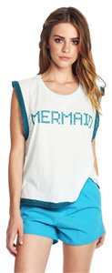 Wildfox Mermaid Glitter Lace Top Blue