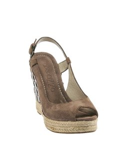 Apepazza Tan Leather Suede Brown Wedges