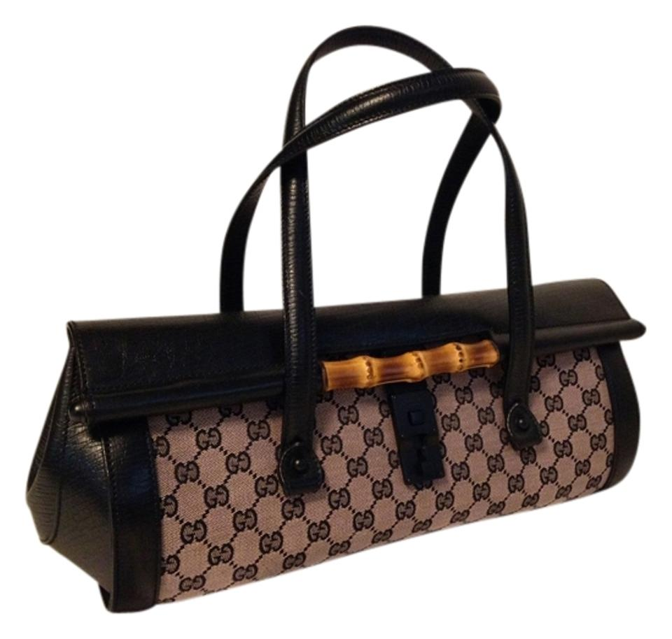 db3be276b61 Gucci Structured Leather Bamboo Accent Studded Monogram Satchel in  Black Powder Rose Image 0 ...