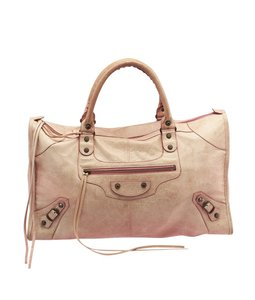 Balenciaga Work Leather Tote in Pink