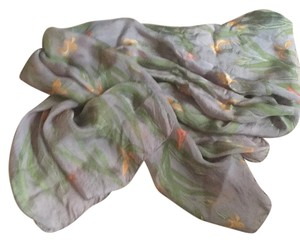 Zazou Large Scarf Shawl Iris Butterfly Pribt On Gray