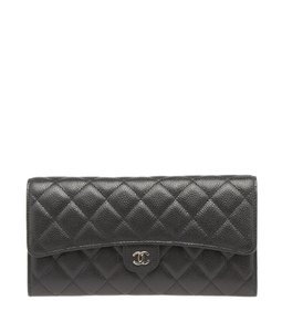 Chanel Chanel, A68705, Black, Quilted, Leather, Snap Wallet