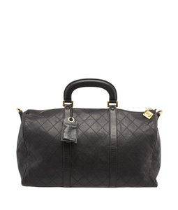 Chanel Quilted Leather Duffle Black Travel Bag