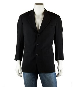 Donna Karan Mens Wool Black Blazer
