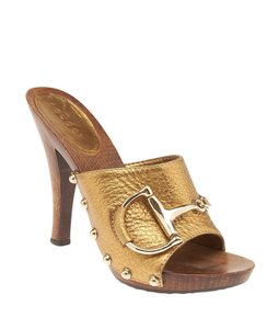 Gucci Bronze Leather Studded Brown Mules