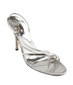 Gucci Leather Gg Silver Sandals