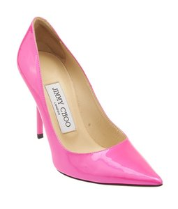 Jimmy Choo Patent Leather Pointed Toe Heels Pink Pumps