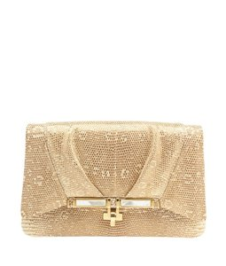 Kara Ross Lizard Mop Gold Clutch