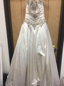 Allure Bridals Ivory Over Silver Satin 9003 Vintage Wedding Dress Size 8 (M)