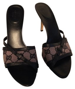 Gucci Monogram Leather Slides Studded Straps Black/Dusty Rose Sandals