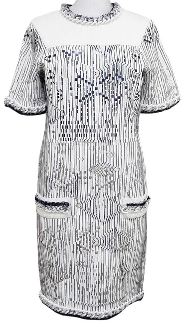 Chanel White Blue Silver 14s Knit Sweater Metallic Sleeve 40 Mid-length Short Casual Dress Size 4 (S) Chanel White Blue Silver 14s Knit Sweater Metallic Sleeve 40 Mid-length Short Casual Dress Size 4 (S) Image 1