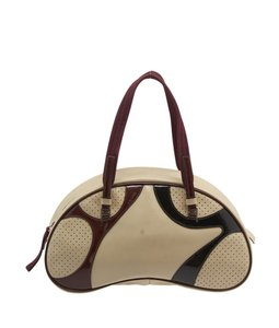 Prada Cream Perforated Satchel in Multi/Print