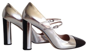 Miu Miu Two-tone Patent Leather Mary Jane Silver/Black Pumps