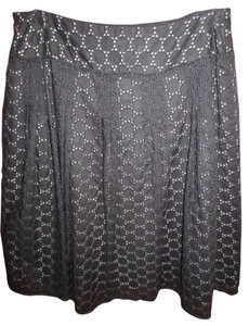 Ann Taylor Eyelet Summer Casual Skirt black and white