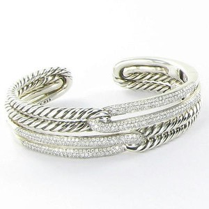 David Yurman David Yurman Labyrinth Cuff Bracelet Double Loop 1.965cts Diamond Sterling