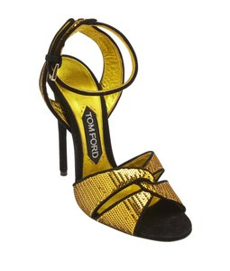 Tom Ford Black Sequin Gold Sandals