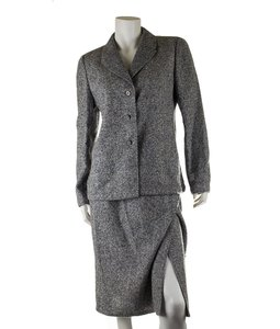 Valentino Valentino Grey Cashmere Skirt Suit, Size 10 (27902)