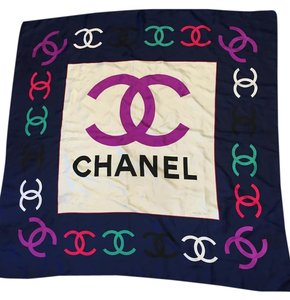 Chanel CHANEL vintage monogram Silk Scarf Multi Color