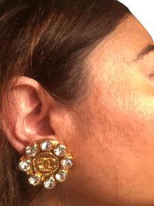 Chanel Chanel Large CC and Crystal Earrings Huge