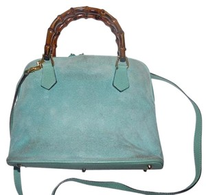 Gucci Gold Hardware Removable Strap Satchel in Seafoam green Suede body & leather accents