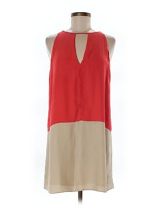 Parker short dress Coral/Tan Silk Color-blocking on Tradesy