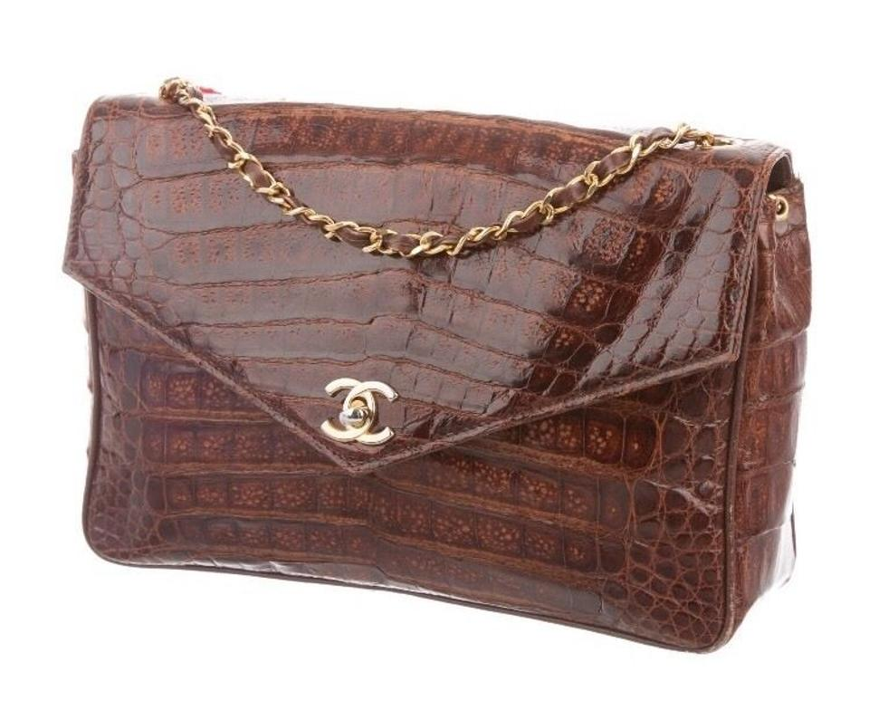 74cf6a50852f Chanel Vintage Jumbo Classic 'cc' Brown Crocodile Shoulder Bag - Tradesy