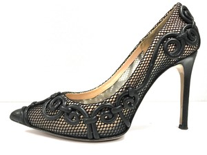 Valentino Heel Height 4'' Sheer Lace Black Pumps