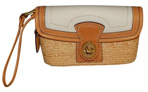 Coach Baguette Leather Canvas - Straw Wristlet in Natural Khaki Cream
