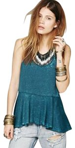 Free People Peplum Burnout Top Teal