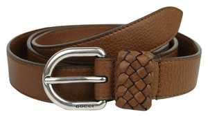 Gucci Brown Leather Wrap Belt with Orval Buckle 100/40 336828 2535