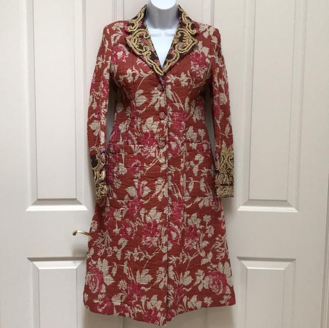 Item - Red Quilted Floral Coat Size 8 (M)