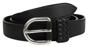 Gucci Black Leather Wrap Belt with Orval Buckle 95/38 336828 1000