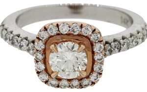 Other 14k White Rose Gold GIA Diamond Halo Engagement Ring