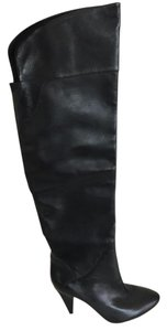 Guess Leather Over The Knee Black Boots