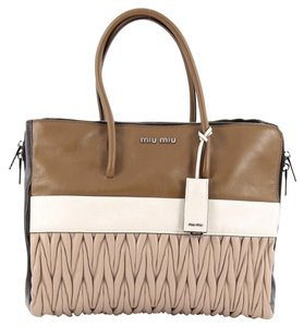 Miu Miu Leather Tote in Brown